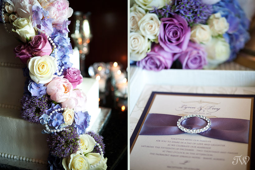 purple wedding flowers on a wedding cake