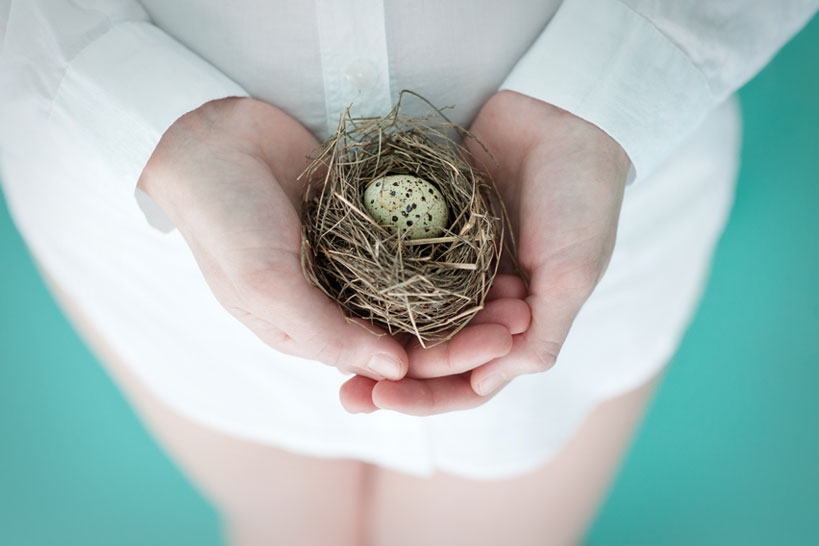 Mama to be holds a nest during Calgary maternity session