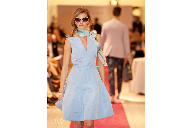 Fashion show model in pale blue at Holt Renfrew Tara Whittaker Photography
