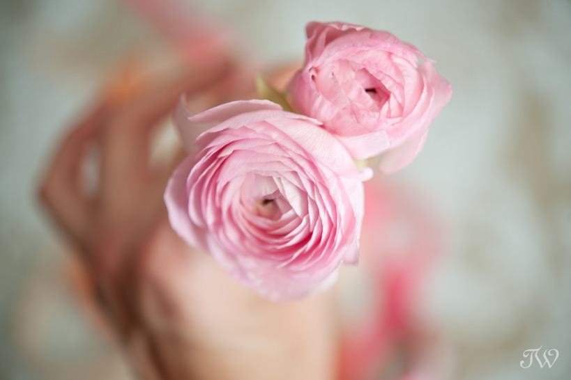 spring wedding bouquets using pink ranunculus Tara Whittaker Photography