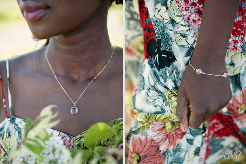 model wears a gold jewelry captured by Tara Whittaker Photography