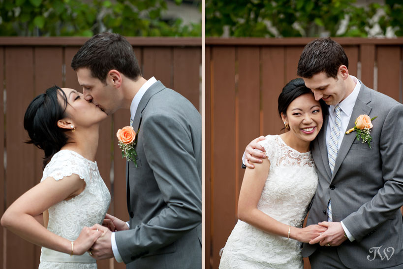 first married kiss captured by Tara Whittaker Photography