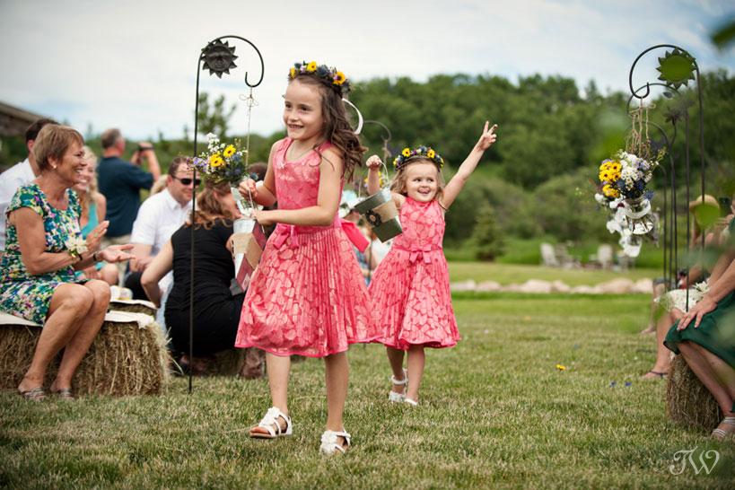 flower girls dancing captured by Tara Whittaker Photography