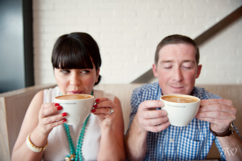 couple sipping coffee  captured by Tara Whittaker Photography