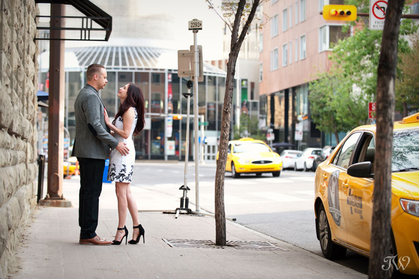 engagement session in downtown Calgary captured by Tara Whittaker Photography