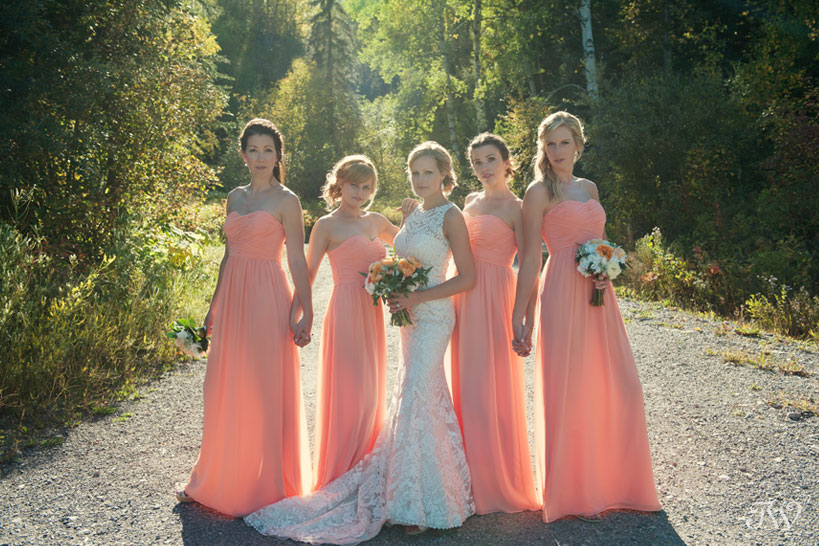 Bride with her bridesmaids in Fernie captured by Tara Whittaker Photography