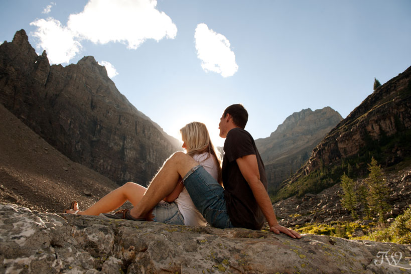 engagement session at Lake Agnes captured by Tara Whittaker Photography