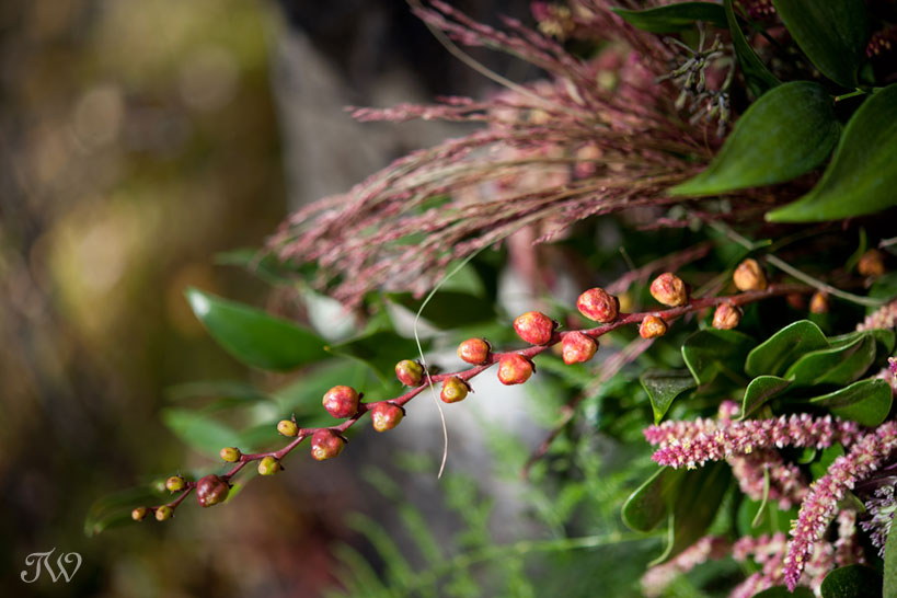 Montbretia pods in a fall bridal bouquet captured by Tara Whittaker Photography
