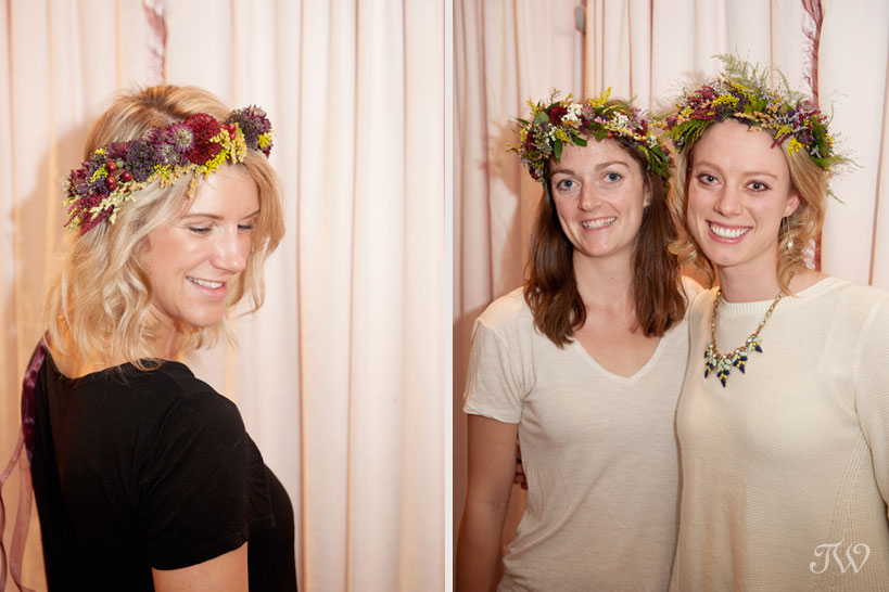 guests model their flower crowns captured by Tara Whittaker Photography