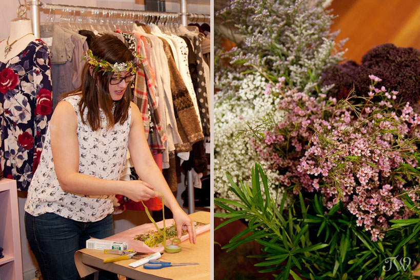 Flowers by Janie instructs guests at DIY workshop captured by Tara Whittaker Photography