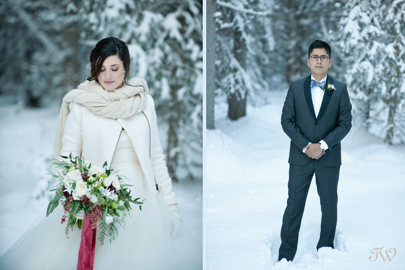 bride poses after her snowy winter wedding captured by Tara Whittaker Photography