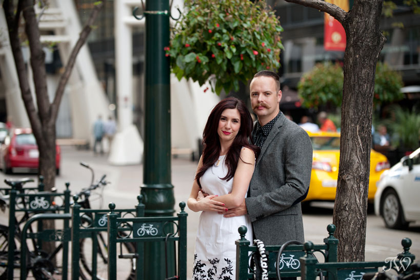 bride and groom pose during engagement photos captured by Tara Whittaker Photography