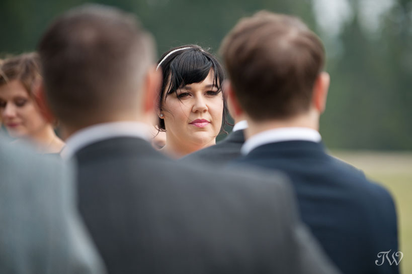 Bride during her wedding ceremony in the Town of Banff captured by Tara Whittaker Photography