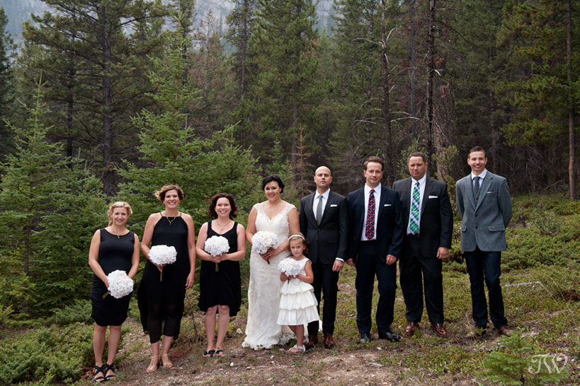 bridal party at a Banff wedding captured by Tara Whittaker Photography