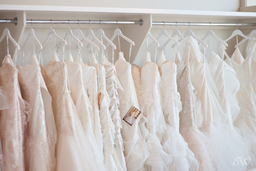 wedding dresses on display at The Bridal Boutique captured by Tara Whittaker Photography
