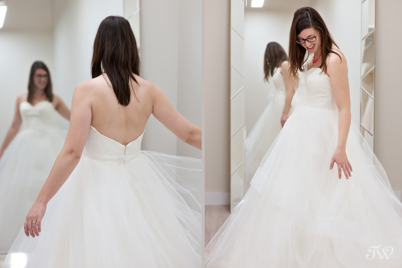 bride trying on a Hayley Paige gown captured by Tara Whittaker Photography