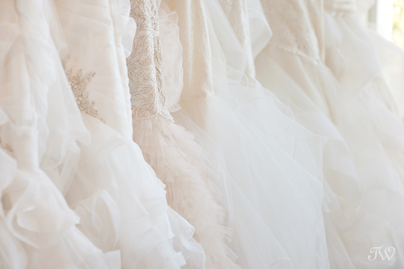 tulle skirts in wedding dress shops in Calgary captured by Tara Whittaker Photography