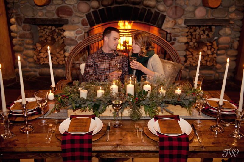 couple dine at Buffalo Mountain Lodge in Banff captured by Tara Whittaker Photography