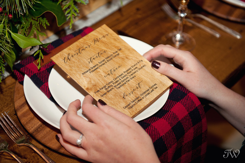 handcrafted wooden menu by Naturally Chic captured by Tara Whittaker Photography