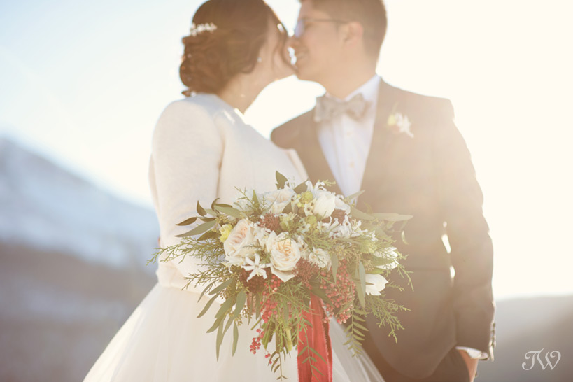 bouquet for a winter bride captured by Tara Whittaker Photography