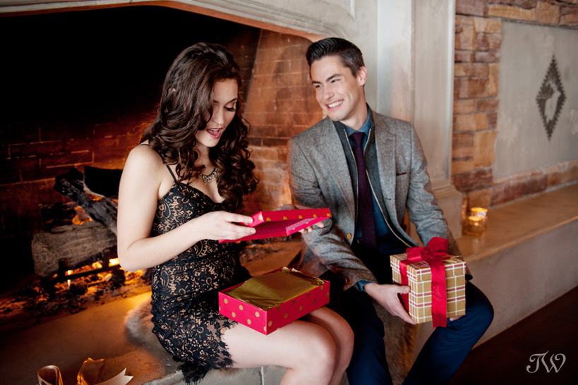 couple exchanges gifts at The Lake House captured by Tara Whittaker Photography