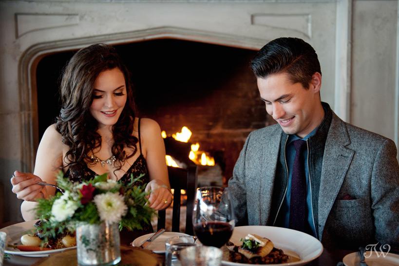 romantic dinner at The Lake House captured by Calgary wedding photographer Tara Whittaker