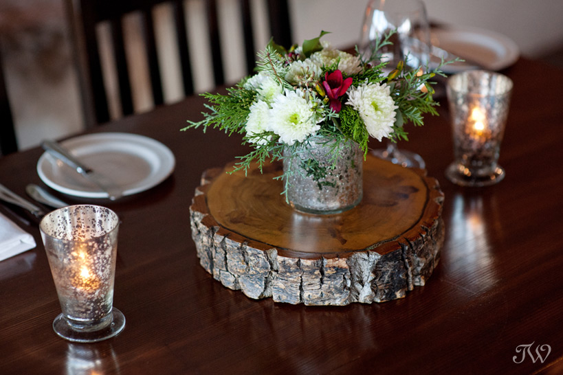 Christmas centrepiece from Flowers by Janie captured by Tara Whittaker Photography