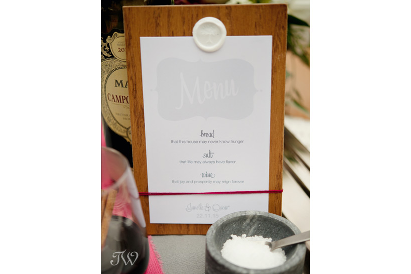 wedding menu by Stevie & Bean captured by Tara Whittaker Photography