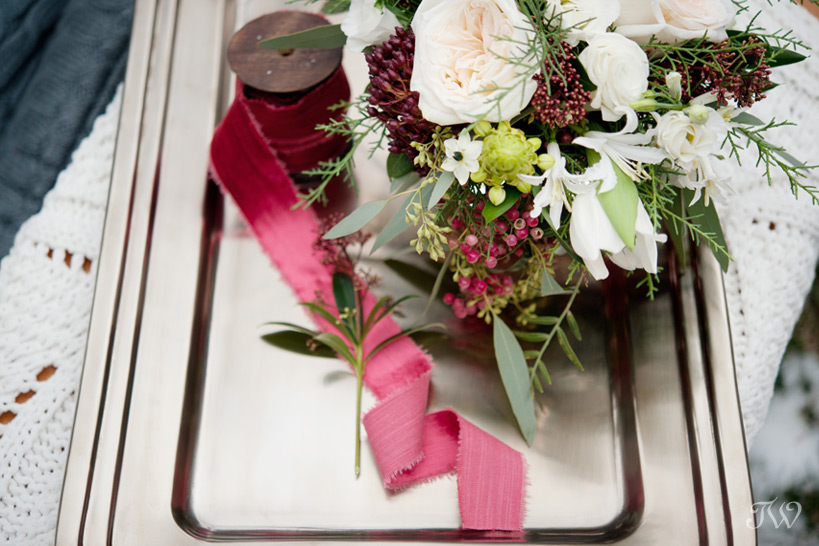 winter wedding bouquet by Flowers by Janie captured by Tara Whittaker Photography