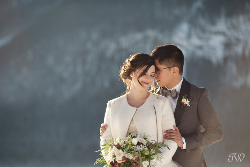 bride and groom at their mountain wedding captured by Tara Whittaker Photography