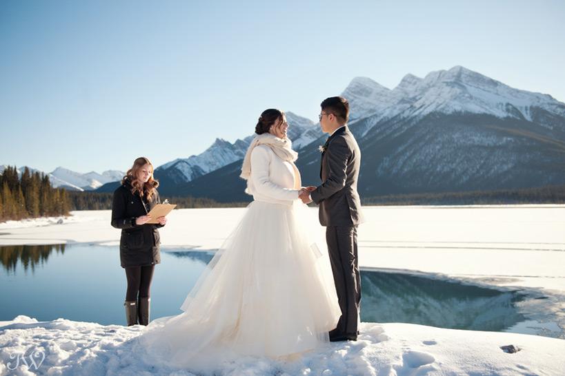 winter wedding ceremony captured by Tara Whittaker Photography