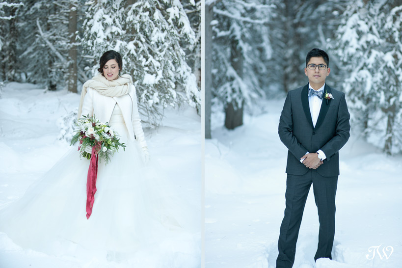 bride and groom at their winter wedding captured by Tara Whittaker Photography