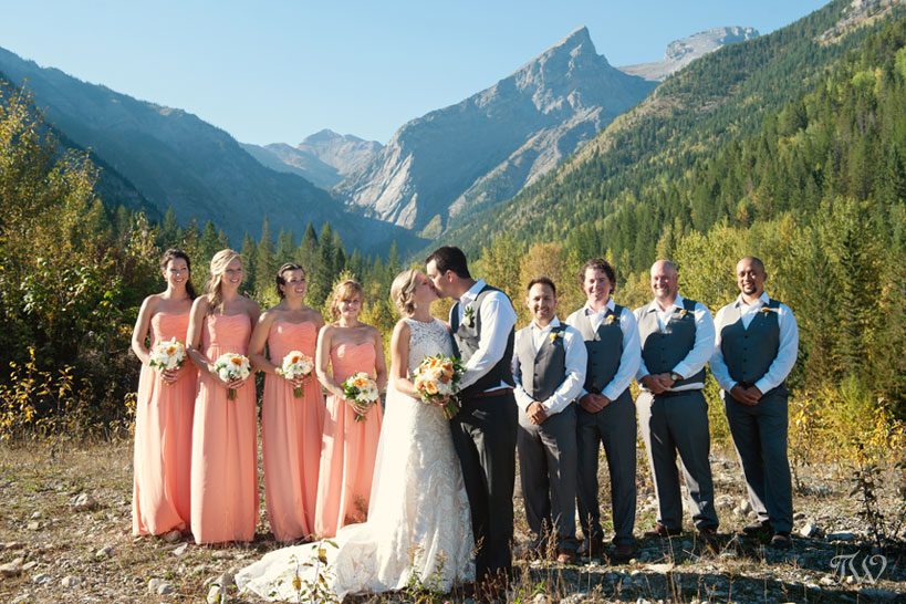 bridal party pose for photos in Fernie captured by Tara Whittaker Photography