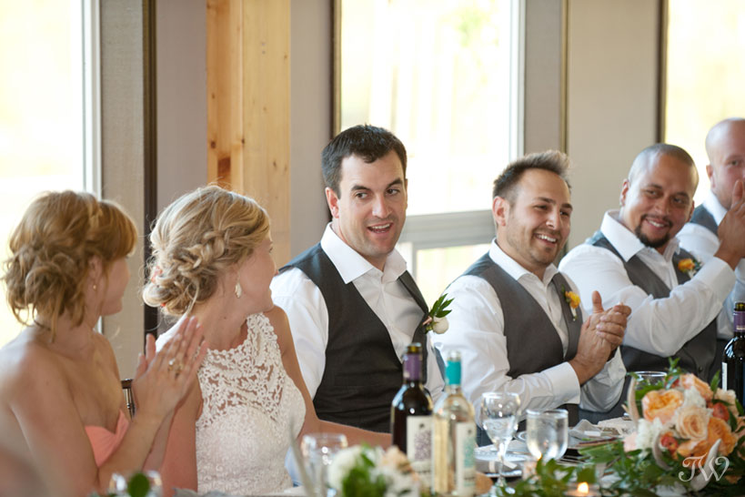 Bride and groom at their Fernie wedding reception captured by Tara Whittaker Photography