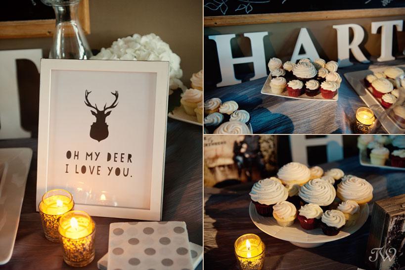 Dessert table at a Fernie wedding captured by Tara Whittaker Photography