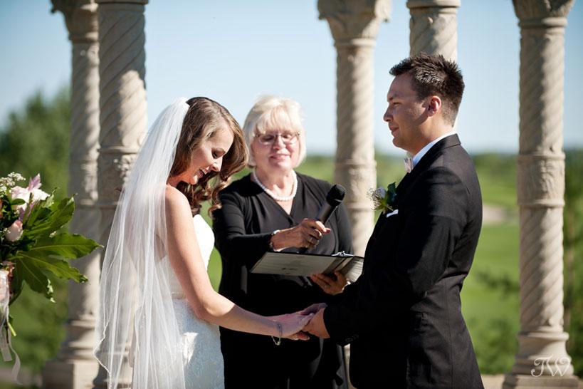Wedding vows captured by Blue Devil Golf Club wedding photographer