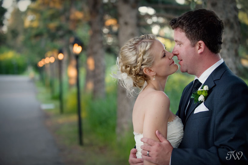 bride and groom at their Bow Valley Ranche wedding captured by Tara Whittaker Photography