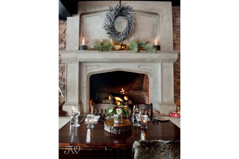 Grand fireplace at The Lake House captured by Tara Whittaker Photography