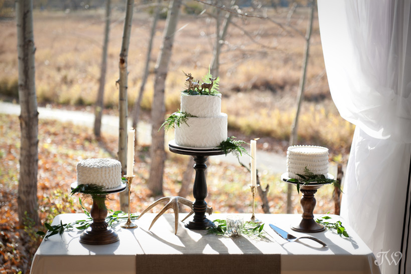 Woodland wedding cakes captured by Tara Whittaker Photography