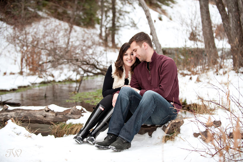 couple pose for unique engagement photos captured by Tara Whittaker Photography