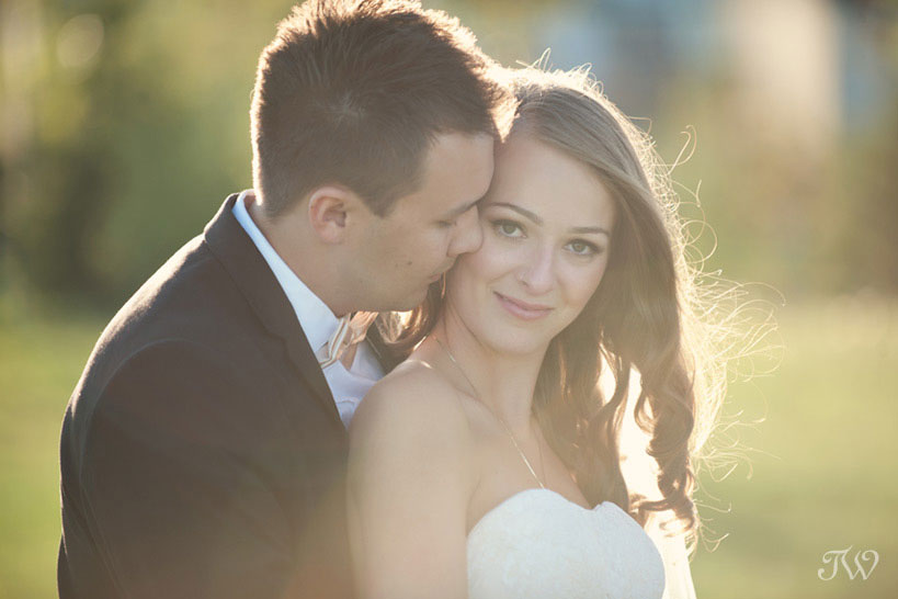 bride and groom during the golden hour captured by Tara Whittaker Photography