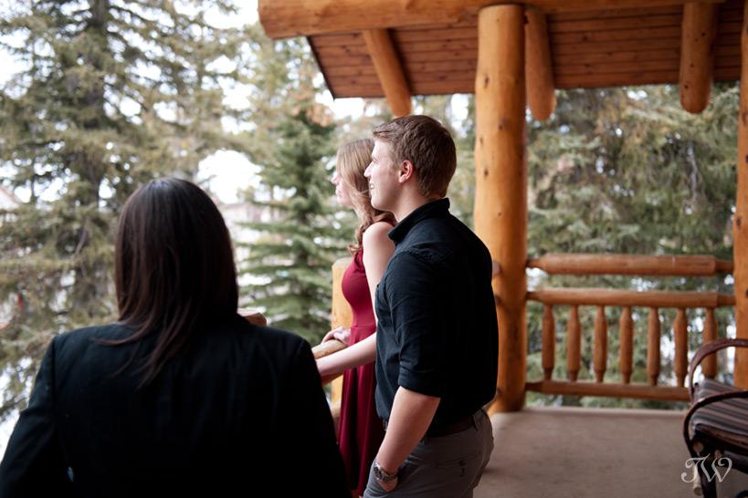 enjoying the views from the Wapiti Longhouse at Buffalo Mountain Lodge captured by Tara Whittaker Photography