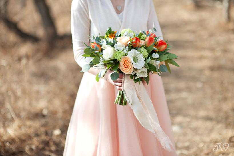 spring bridal bouquet captured by Calgary wedding photographer Tara Whittaker