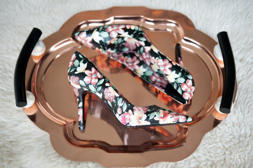 Floral wedding shoes from Nine West Canada captured by Tara Whittaker Photography