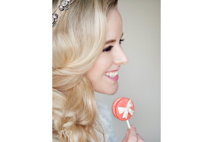 bride celebrates Valentine's Day with a macaron pop from Yann Haute Patisserie