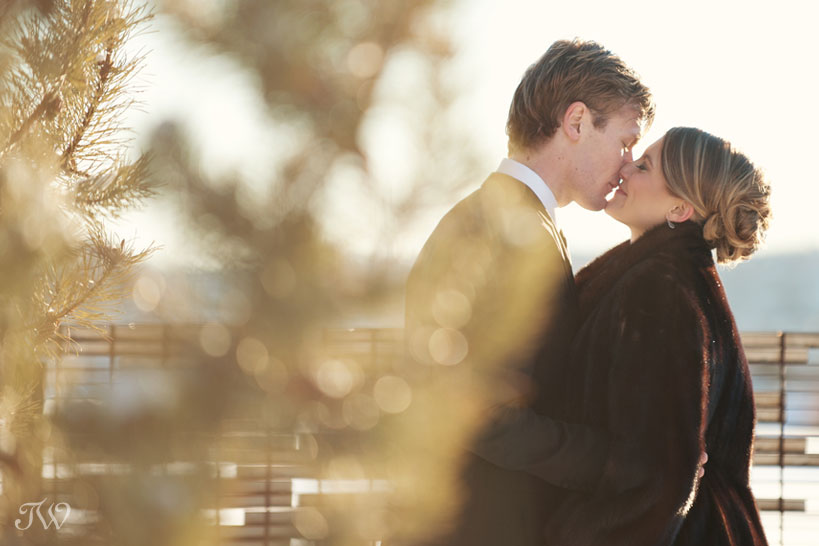 bride and groom during winter wedding photos captured by Tara Whittaker Photography