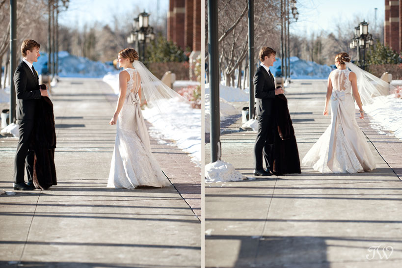 Bride and groom during their first look at SAIT captured by Tara Whittaker Photography