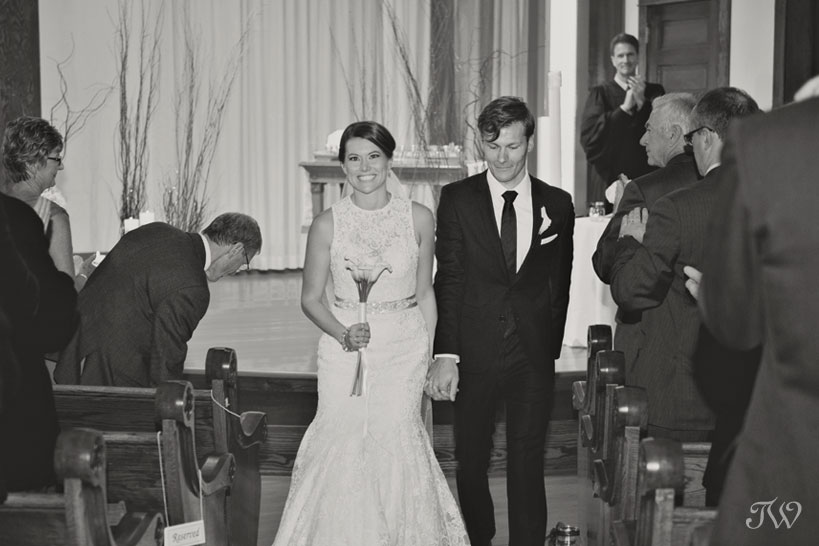 just married at Hillhurst United Church captured by Tara Whittaker Photography