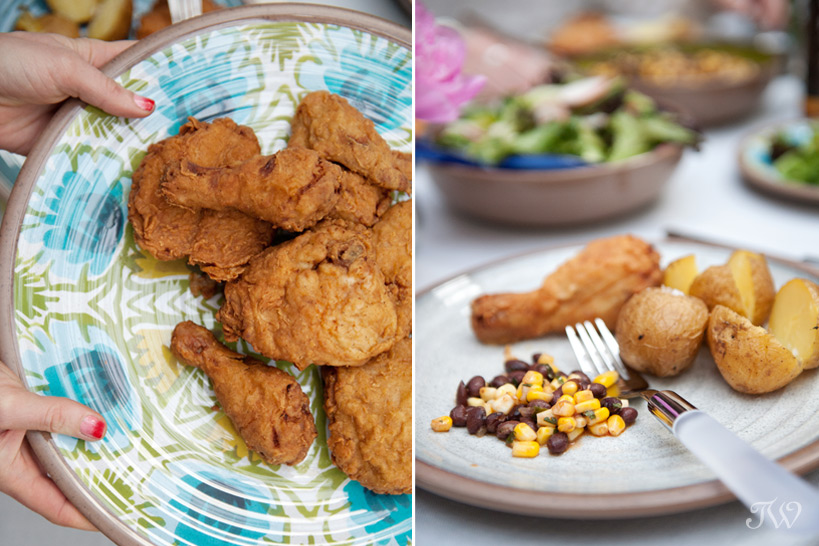 fried chicken at a summer patio party captured by Tara Whittaker Photography