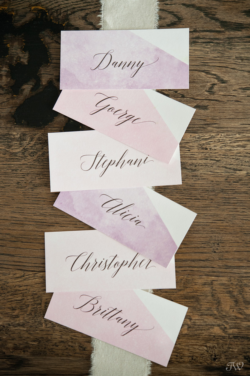 watercolour place cards from Modern Pulp Design Studio captured by Tara Whittaker Photography